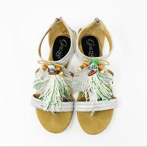 Grazie size 9 Silver Zip Tassel Feather Sandal